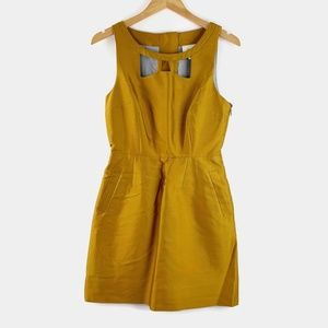 Maeve Anthropologie Chardonnay Sheen Cutout Dress
